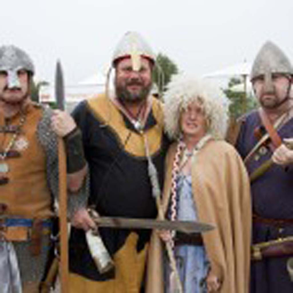 What's in your wallet? Fallbrook resident Jordan Malbrough, Vista residents Karl and Deanna Miethke, and Huntington Beach resident Bruce Willis from the Norwegian Fish Club Odin, a Viking re-enactment group. Photo by Daniel Knighton