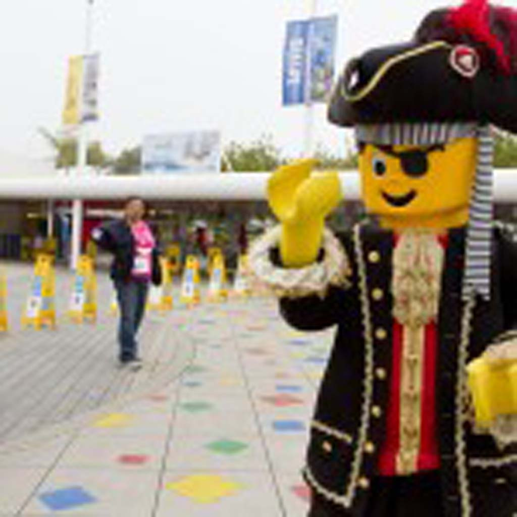 The Lego Pirate mascot greets walkers as they enter Legoland. Photo by Daniel Knighton