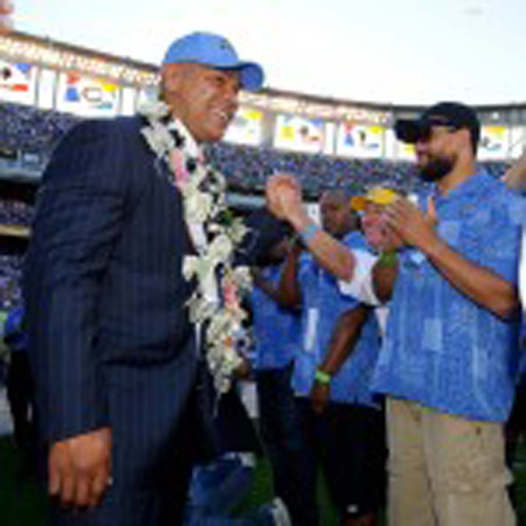 Community icon Junior Seau is inducted into the San Diego Chargers Hall of Fame in November 2011. Photo by Mike Nowak
