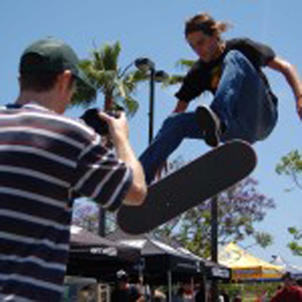 Weston Sparks competes in the 12th annual Game of Skate Saturday at K5 in Encinitas. He took second place in the 16 and over heat. Photo by Tony Cagala