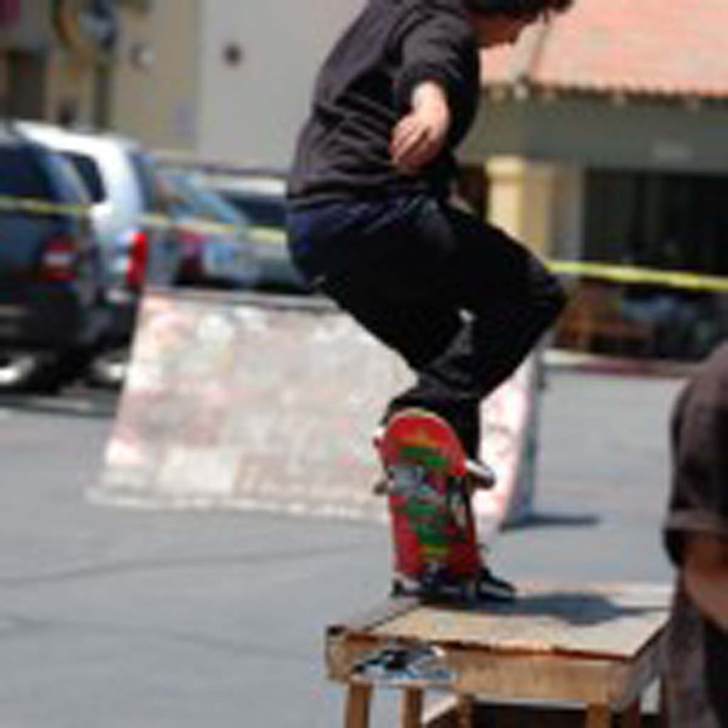 Andrew Chavez attempts a nose grind on the grind box Saturday in K5's Game of Skate competition. Photo by Tony Cagala