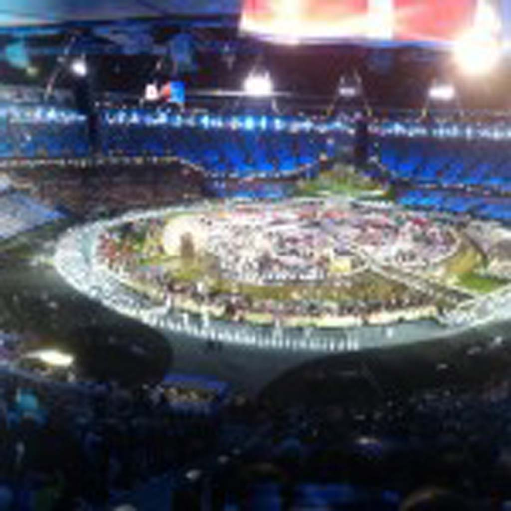 Opening Ceremony rehersals underway for the 2012 Olympics in London, England. Photo courtesy of Bob Haro