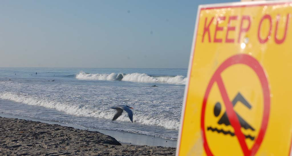 Surfers still enter the water near Moonlight Beach Monday, following a spill that leaked 6,200 gallons of sewage, and forcing the beach to be closed Sunday. County officials are expected to test the water again to assess its quality and whether the beach can be reopened. Photo by Tony Cagala