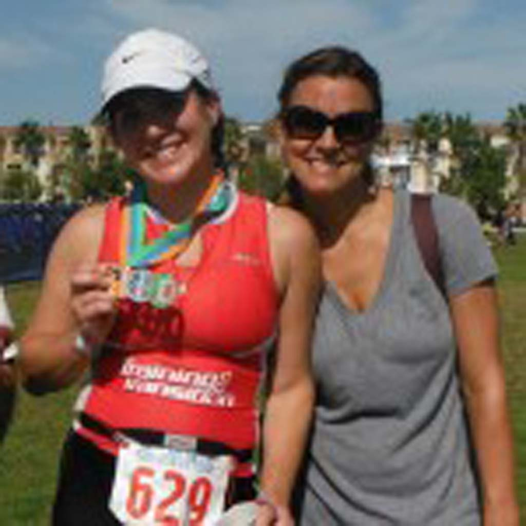 Jill Drouin just competed in the San Diego Triathlon. Jill is featured here with her good friend Holly. courtesy photo