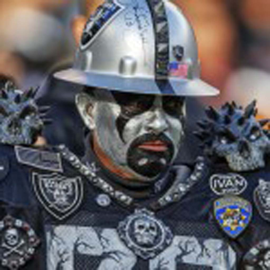 Oakland Raider fans go all out in support of their team. Photo by Bill Reilly