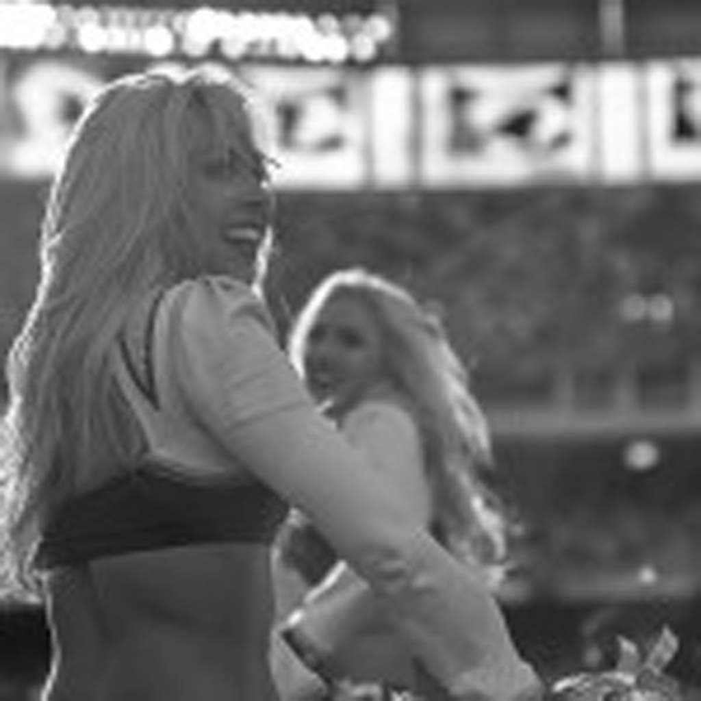 San Diego Chargers cheerleaders dance for the crowd. Photo by Bill Reilly
