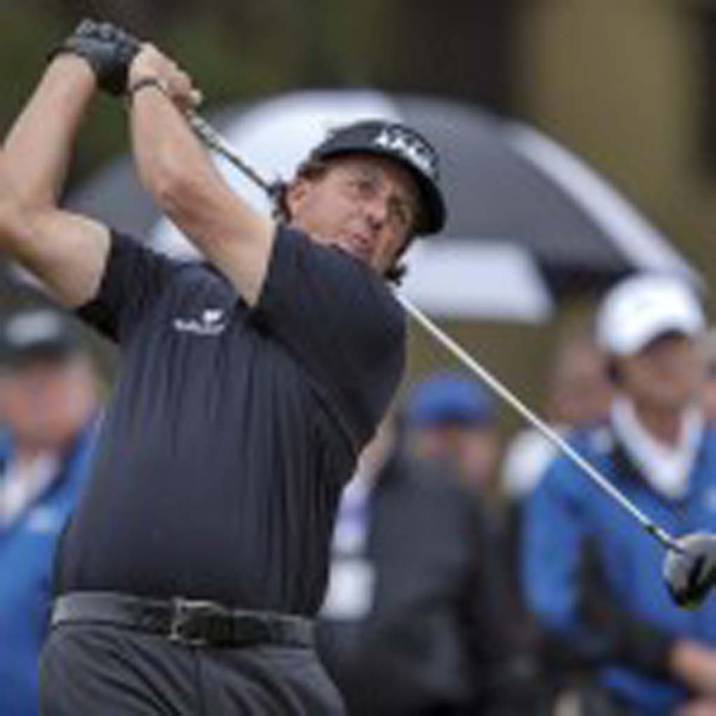 Phil Mickelson tees off. Photo by Bill Reilly
