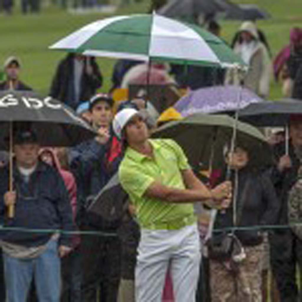 Rickie Fowler watches as his shot heads for the green. Fowler is 2-under for the tournament. Photo by Bill Reilly