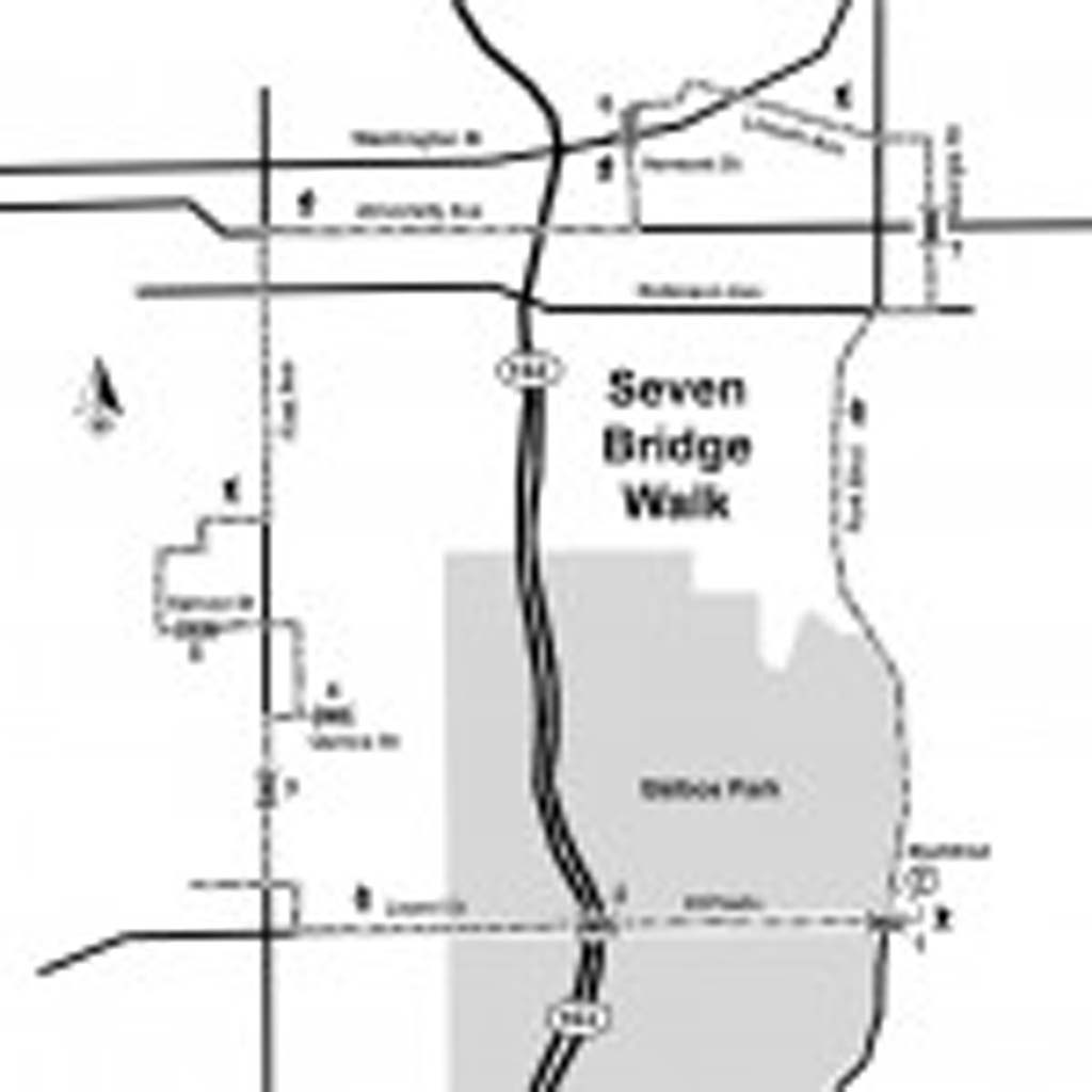 This map details the route for the 7 Bridge Walk, which also takes participants through Balboa Park, scenic neighborhoods, and multiple shops and restaurants on University Avenue in Hillcrest. (Map by Pat Knoll, courtesy of the San Diego Natural History Museum Canyoneers and the San Diego Reader.)