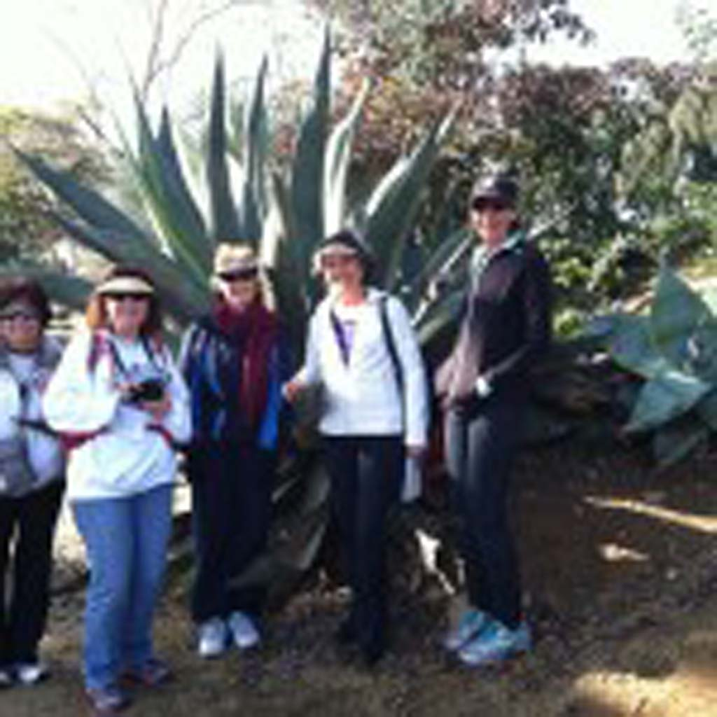 The No. 1 Ladies Hiking Club of North County stops at a giant agave in the cactus and succulent garden along Park Avenue near Balboa Park. (L to R) Donna Clark (Oceanside); Laurie Brindle (Vista); Chris Polkoski (Oceanside); Wanda Stiles (Carlsbad); Shannon Woods (Vista). [Photo by E'Louise Ondash]