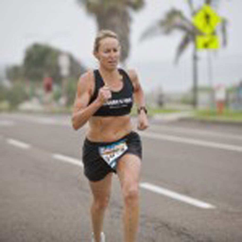 Irvine resident Julie Ertel finished with a time of 17:23, second in the Masters Women 40 and over division and 3rd in the women's overall. Photo by Daniel Knighton