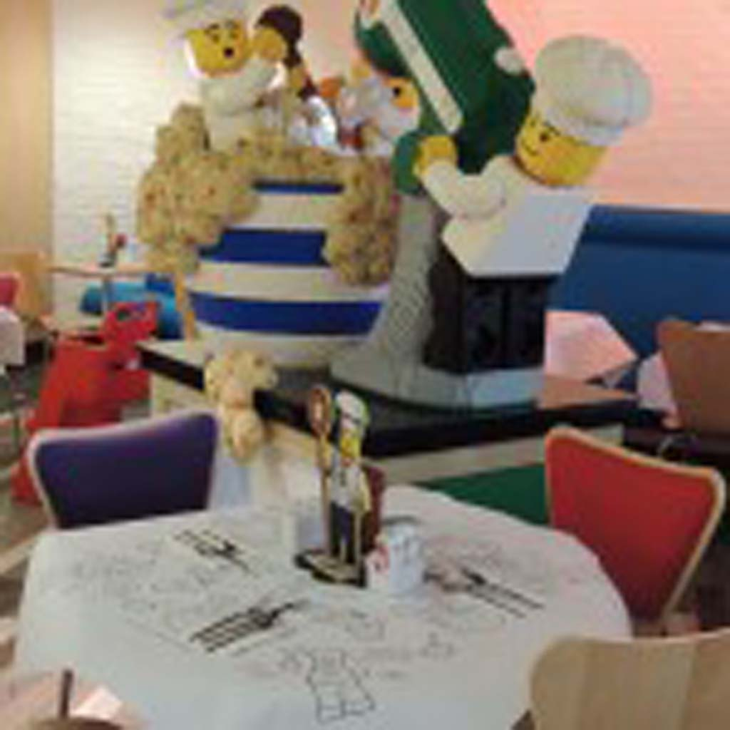 Large Lego sculptures fill every corner of the hotel, including these three characters that mix things up in the main restaurant. Photo by Rachel Stine