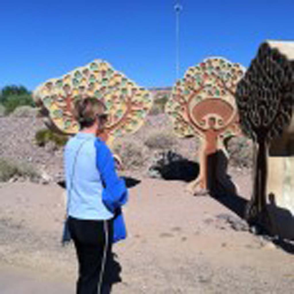 Bobbi Jones of Tempe, Ariz., stops to contemplate one of about two dozen public art pieces that have been installed adjacent to the path that circumvents Tempe Town Lake. The lake is the second most-visited attraction in Arizona after the Grand Canyon. (Photo by E'Louise Ondash)