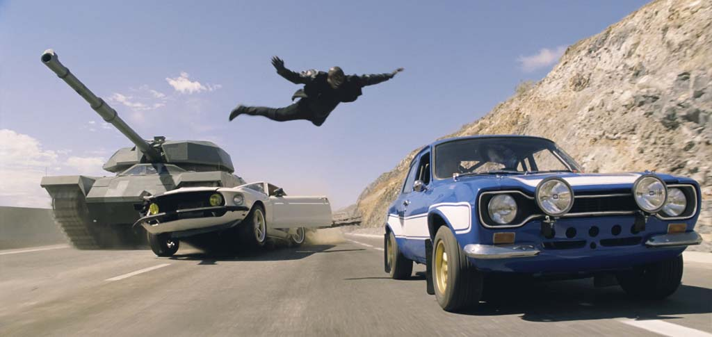 "Roman (Tyrese Gibson) makes a death-defying leap in ""Fast & Furious 6.""  Photo courtesy Universal Pictures"