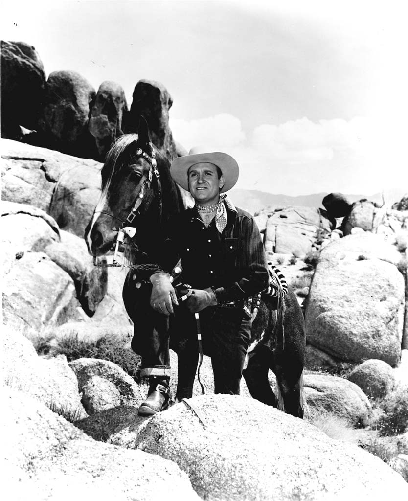According to the Lone Pine Film History Museum, singing cowboy Gene Autry is the only entertainer to have five stars on the Hollywood Walk of Fame. He earned them for his work in film, television, radio, recording and live performance. From the late 1930s to the mid-1950s, Autry and his horse, Champion, made more than 20 theatrical features and 12 TV episodes in the Lone Pine area. Photo courtesy of the Lone Pine Film History Museum