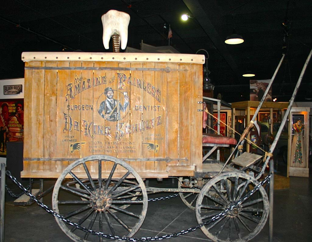 """Not to be outdone by the """"Iron Man"""" exhibit at the Lone Pine Film History Museum, director Quentin Tarantino donated the dentist wagon from """"Django Unchained,"""" which was filmed in the countryside near Lone Pine. The museum is open every day of the year except Christmas and New Year's Day. Photo courtesy of the Lone Pine Film History Museum"""