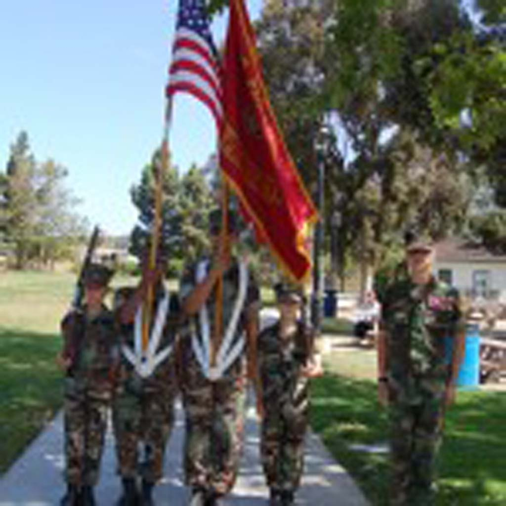 The Presentation of Colors is provided by Camp Pendleton Young Marines, from left, Luke Smith, Fernando Mendoza, William Leguizamon, Issac Jones and Tyler Jones. Photo by Bianca Kaplanek