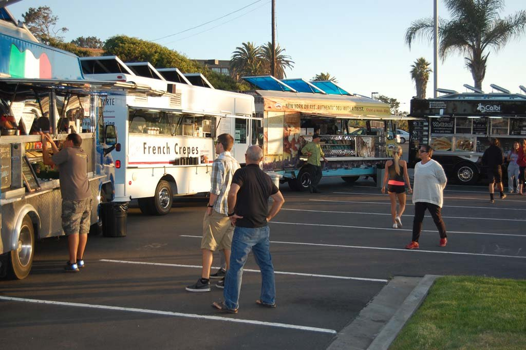 Regulations and fees are now in place so food trucks can return to Del Mar. The mobile vendors set up shop in the Seagrove parking lot in October, but haven't returned since November, when a temporary moratorium was adopted to allow the city to set rules for the trucks. Photo by Bianca Kaplanek
