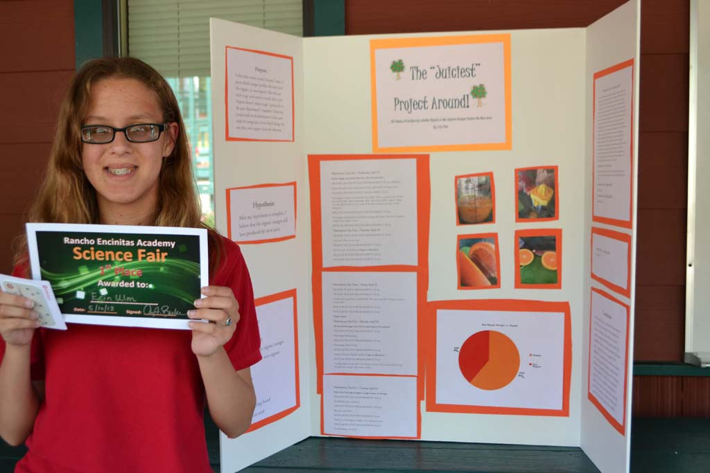 """Rancho Encinitas Academy eighth-grader Erin Ulm, earned the blue ribbon for her science project, """"The Juiciest Project Around."""" Courtesy photo"""