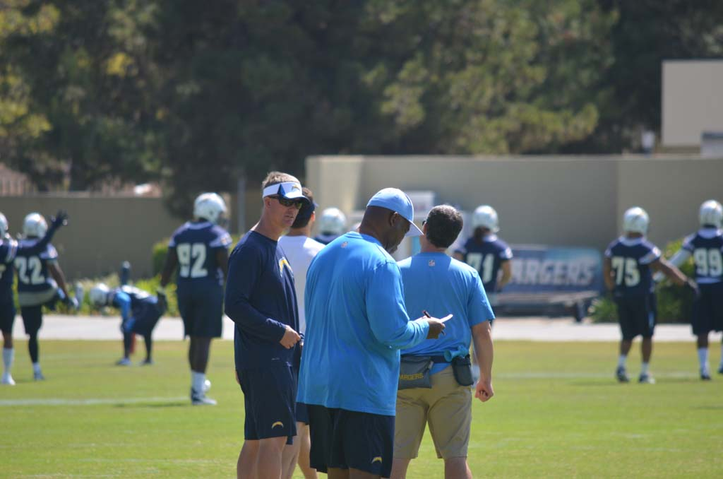 Chargers head coach Mike McCoy talks with coaches during organized team activities Monday. Photo by Tony Cagala