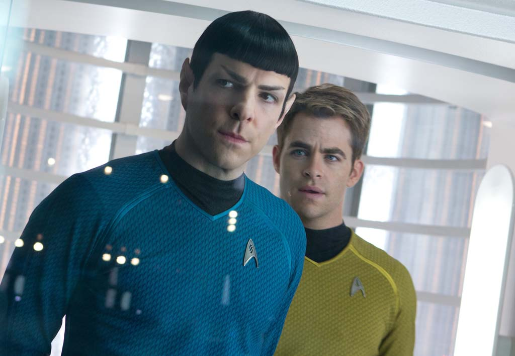"Zachary Quinto, left, is Spock and Chris Pine is Kirk in ""Star Trek Into Darkness,"" now in theaters. Photo by Zade Rosenthal"