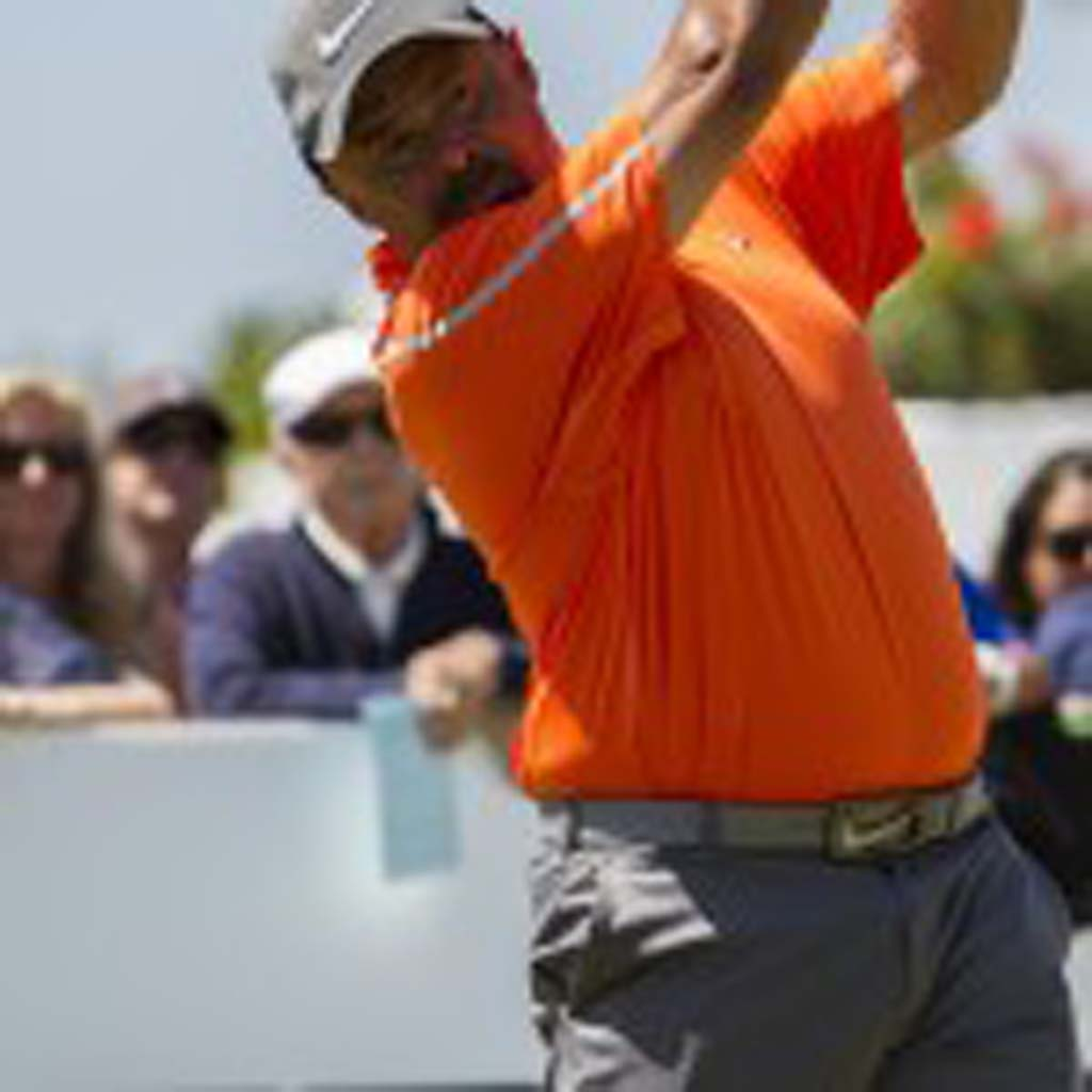 NHL Hall of Fame goalie Grant Fuhr tees off at the Celebrity Championship at La Costa. Photo by Daniel Knighton