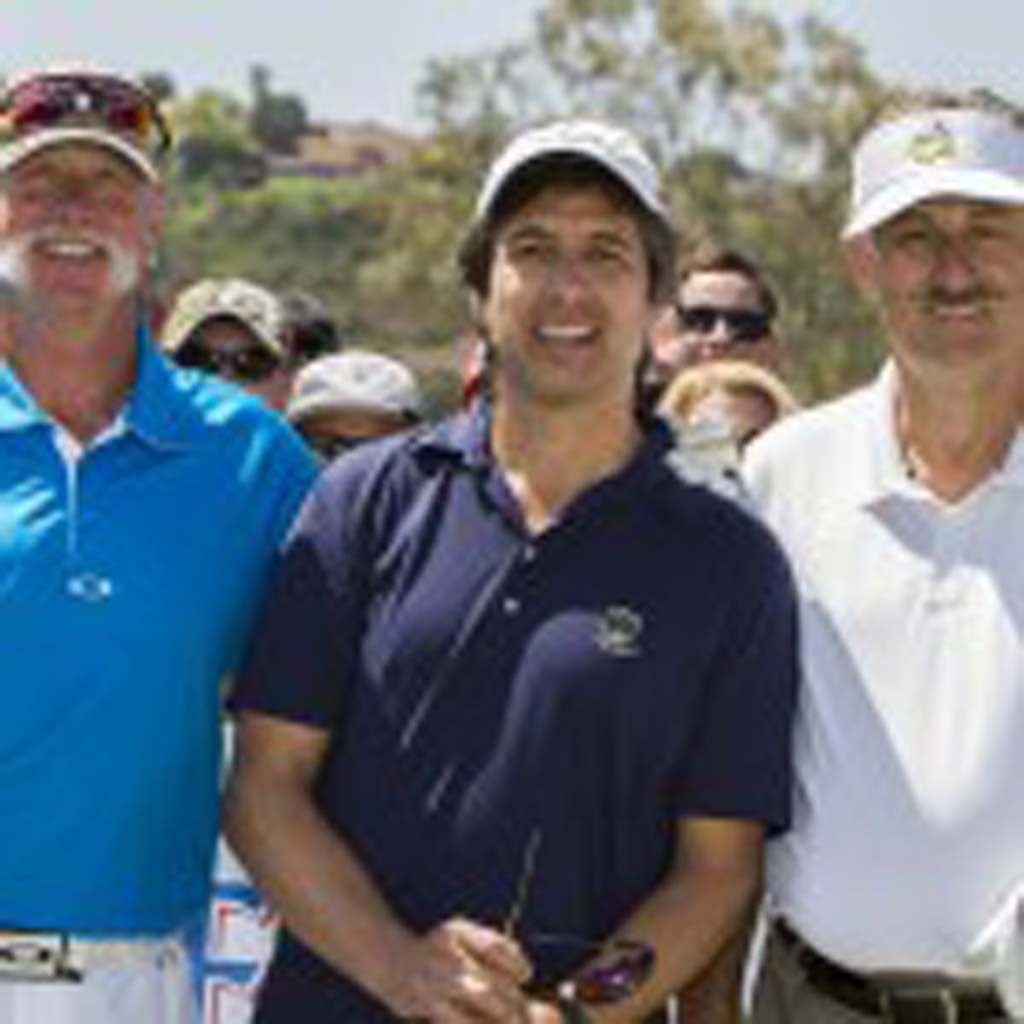 Left to right: MLB Hall of Fame pitcher Goose Gossage, actor Ray Romano, and MLB Hall of Fame pitcher Rollie Fingers pose for The Coast News prior to teeing off. Photo by Daniel Knighton