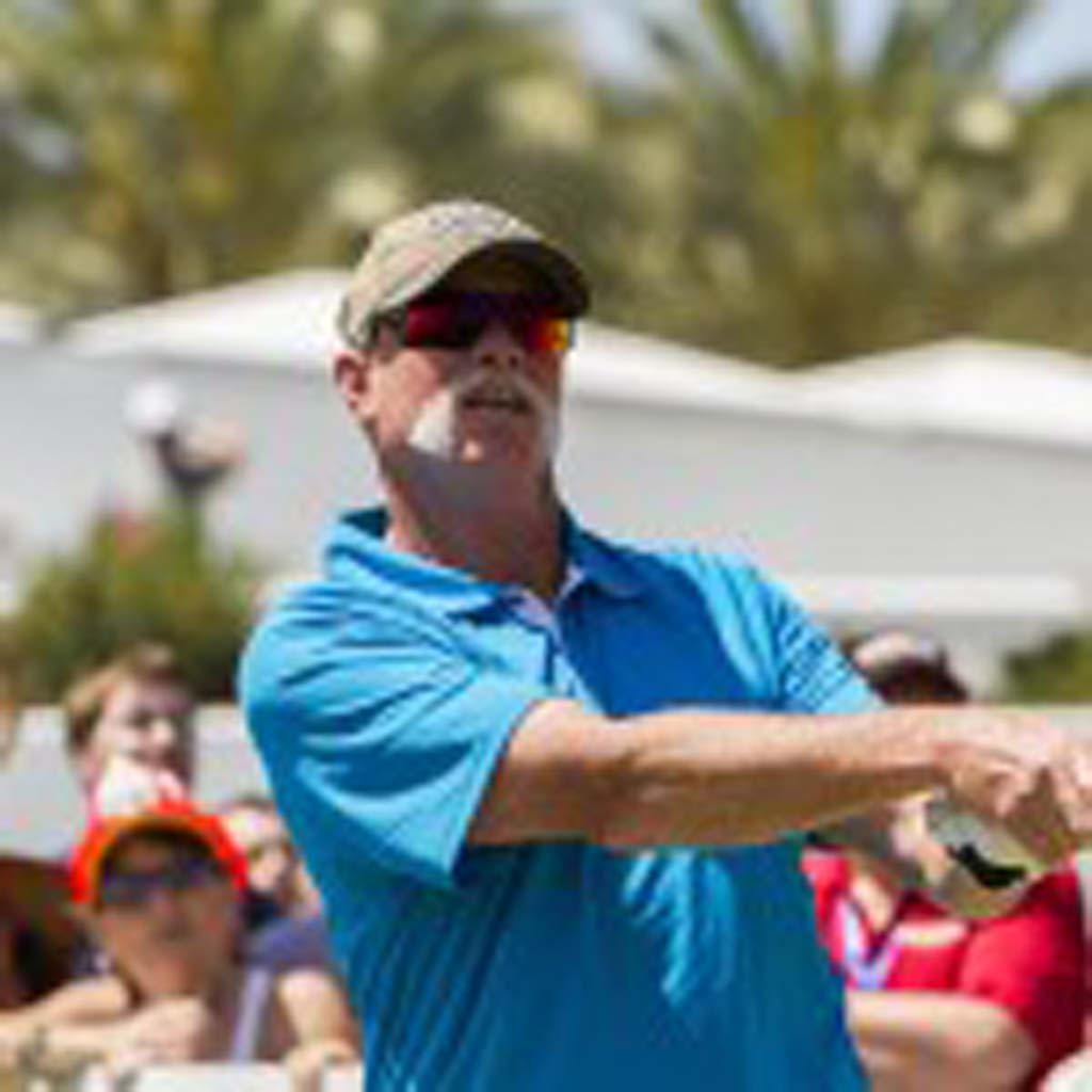 """Former San Diego Padres and MLB Hall of Fame pitcher Rich """"Goose"""" Gossage tees off. Photo by Daniel Knighton"""
