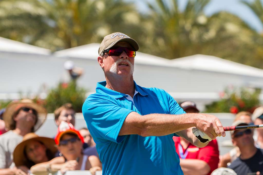 "Former San Diego Padres and MLB Hall of Fame pitcher Rich ""Goose"" Gossage tees off. Photo by Daniel Knighton"