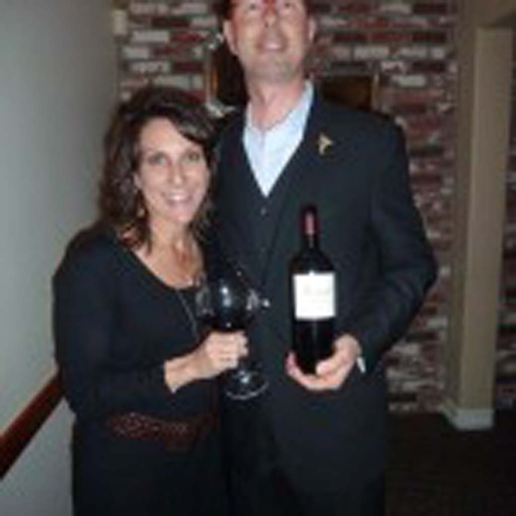Suzette Obergfell of Girard Winery with Vittorio Homberger of Vigilucci's in Carlsbad. Photo by Frank Mangio