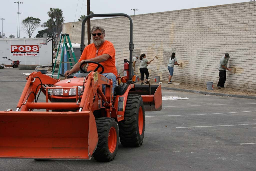 Volunteer Ron Bell volunteered his service as a heavy equipment operator and ran the skip loader during North Coast Church's weekend of service. Volunteers worked in four-hour shifts to complete projects at Oceanside Boys and Girls Club and other sites around North County.