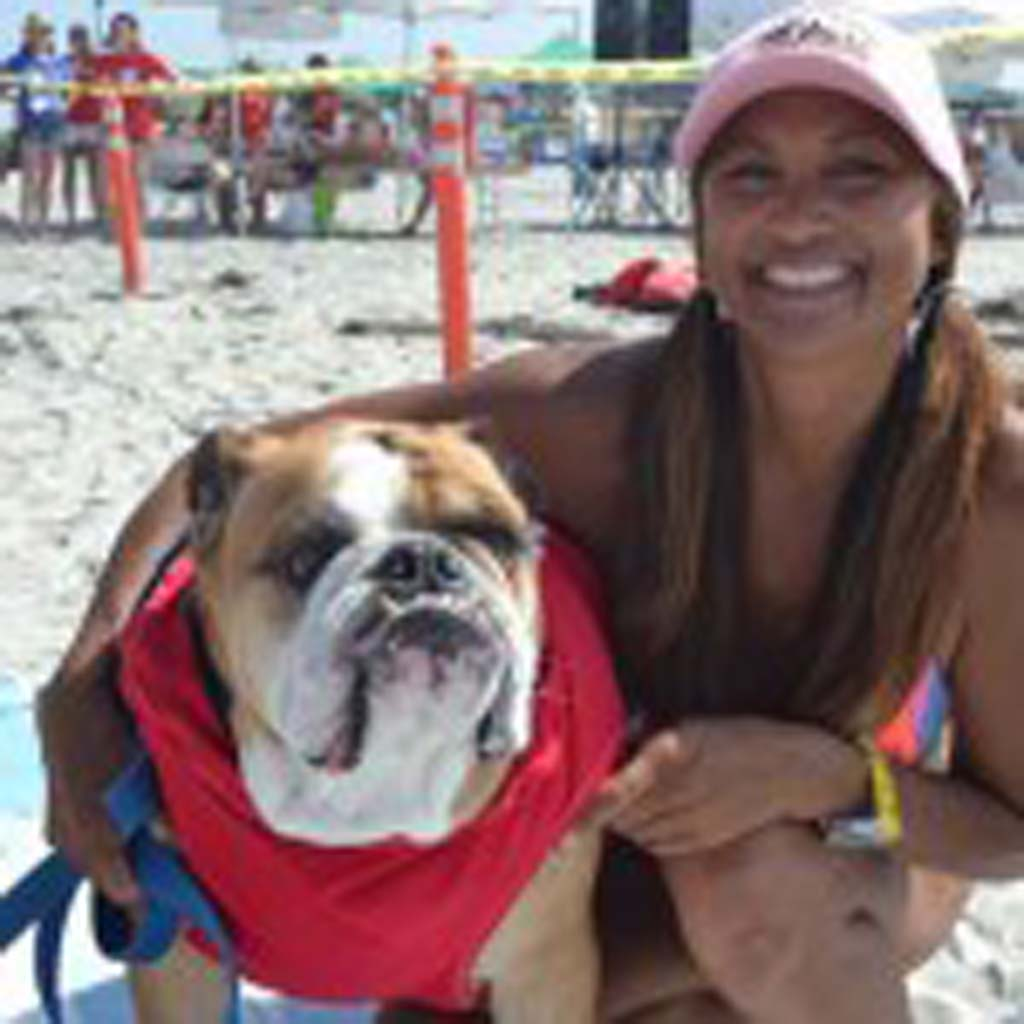 So Cal Surf Dog members Dozer and Gigi Bagaporo, get ready for this year's Dog Surf-a-Thon. Courtesy photo