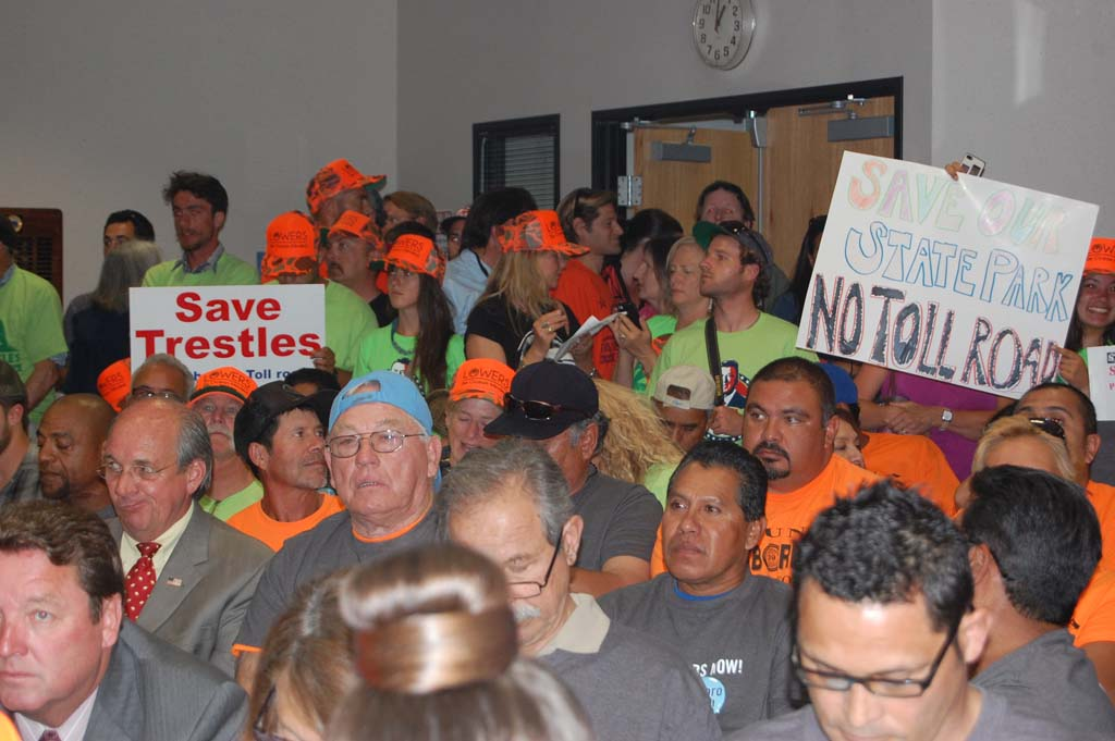 Hundreds of people representing both sides of the issue packed the San Diego Regional Water Quality Control Board meeting room, lobby and overflow library.   Photo by Bianca Kaplanek