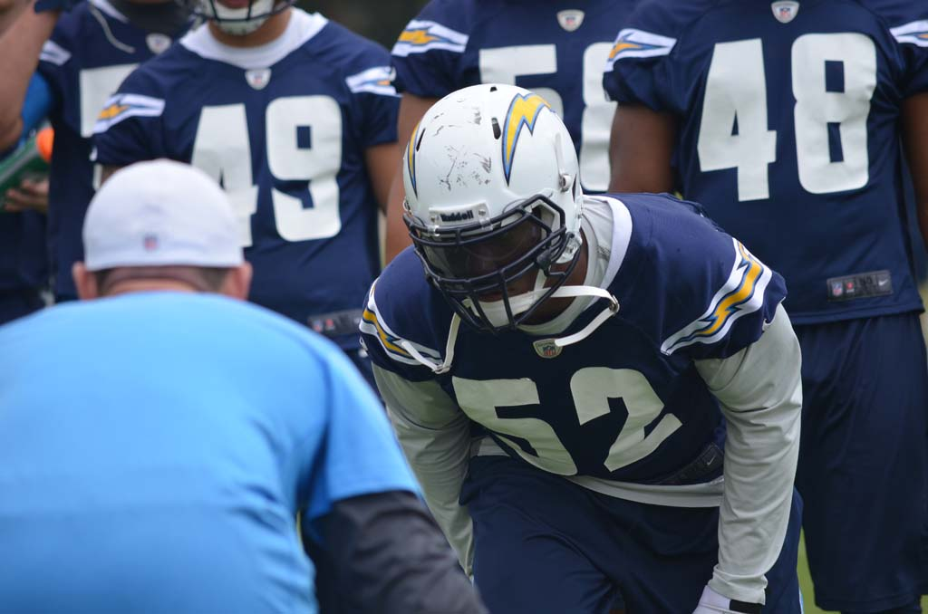 Larry English takes a set position before working on chop block drills. Photo by Tony Cagala