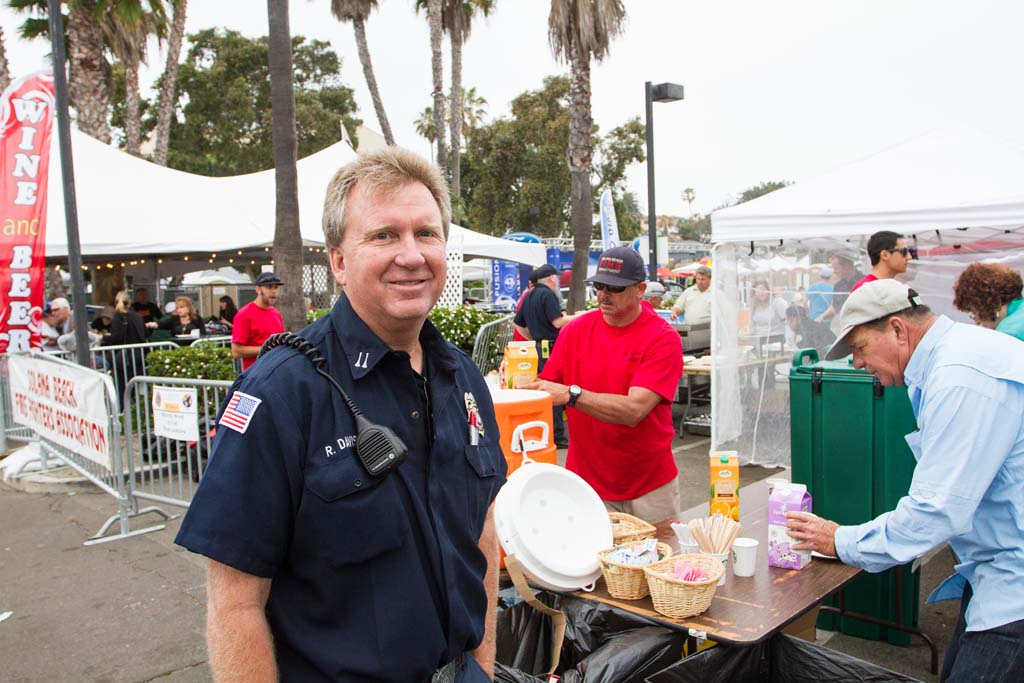 Solana Beach fire captain Rick Davis at the annual Pancake Breakfast. Photo by Daniel Knighton