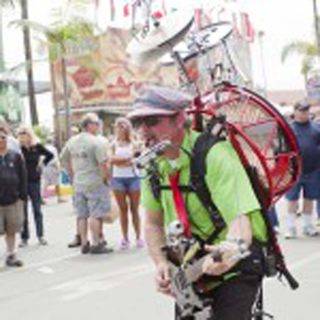 The amazing Bandaloni, a Toronto-based one-man band performs for the opening day crowd at the San Diego County Fair. Photo by Daniel Knighton