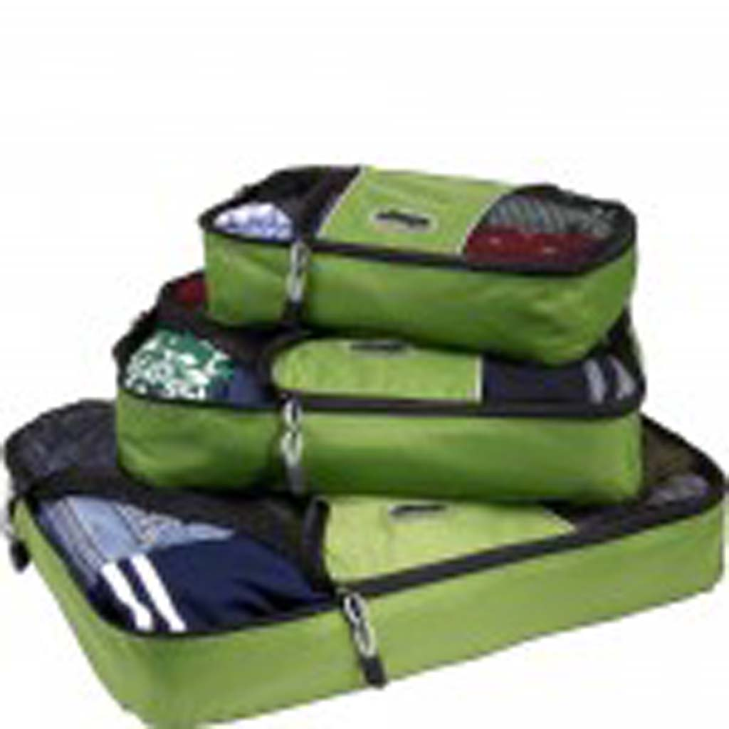 From eBags (ebags.com): If your itinerary calls for many stops, these packing cubes are a must. Underwear in one, blouses in another, and all those miscellaneous items that are usually stuffed into suitcase corners can go in a third. Mesh on top makes for easy identification of the contents. So what if your traveling buddies call you compulsive. While they're suitcase-diving for that particular shirt, you'll know right where to go for yours. Each set includes three cubes.
