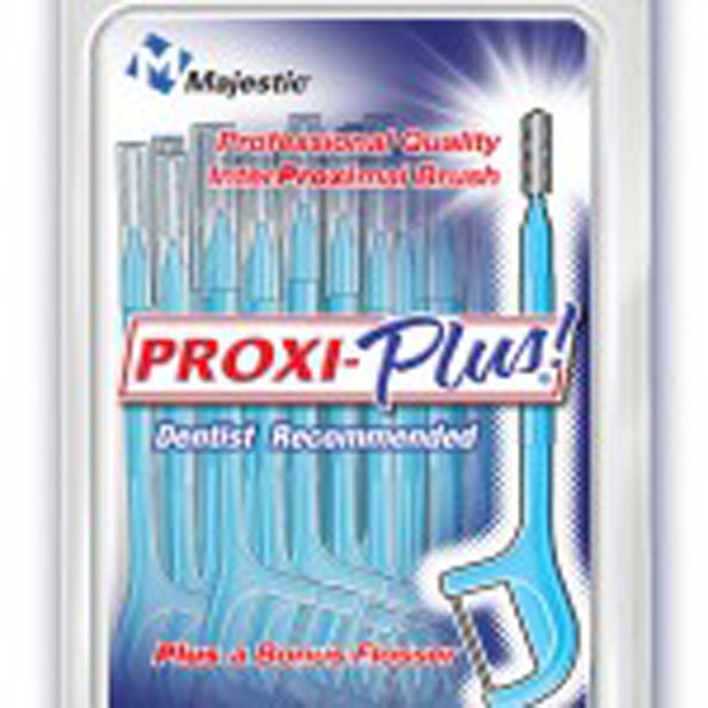 From Majestic Drug Co, Inc. (majesticdrug.com): Keeping up with dental hygiene when you're on the go can be clumsy. Proxi-Plus makes it possible. The all-in-one tool has a little brush on one end and a flosser on the other, and is small, convenient and disposable. Pop a couple into your purse or pocket.