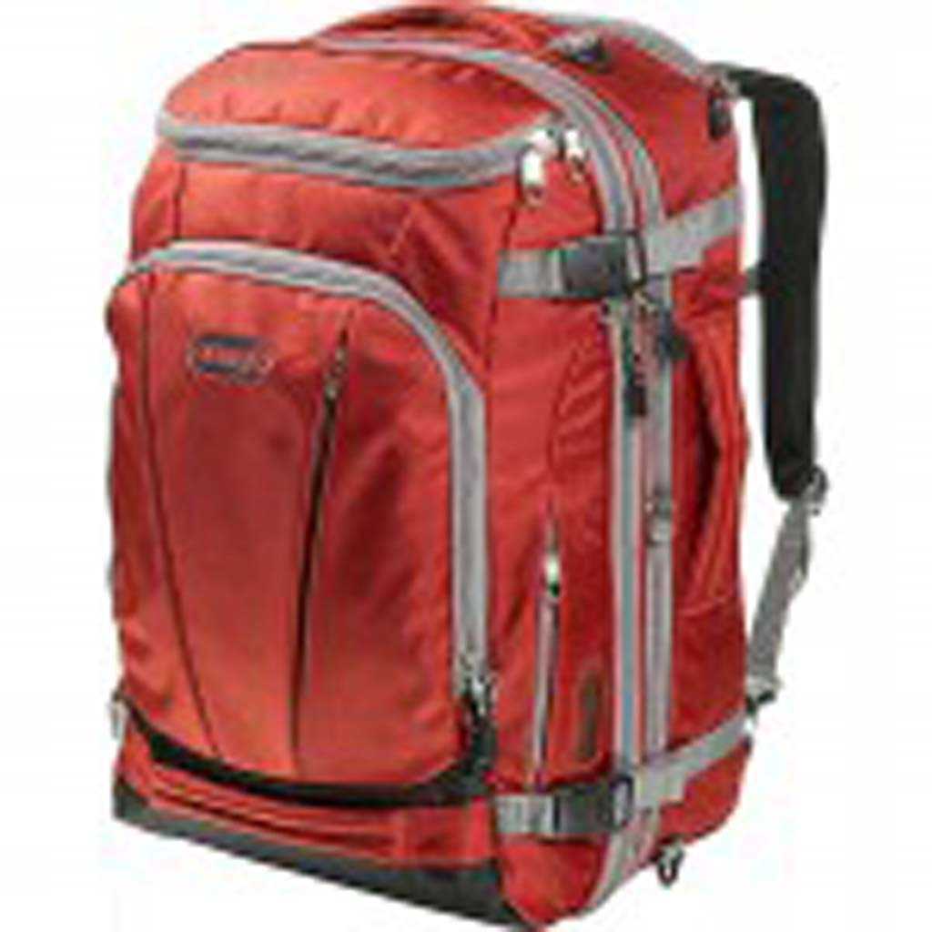 From eBags (ebags.com): It's a beautiful thing, this Mother Lode TLS Weekender Convertible suitcase/backpack. This luggage deserves the extra time it takes to say its name. A marvel of engineering, it'll take you a few go-rounds just to discover all its compartments, including the cleverly discrete place to store a laptop. Comes in eye-catching colors and features heavy-duty zippers.