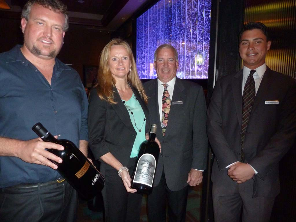 Ben Cane, Winemaker from Silver Oak/Twomey, Julie Bart, rep from Silver Oak, Tom Bertrand, GM of West Steak and Seafood and West Steak and Seafood Manager Sean Merzbacher.