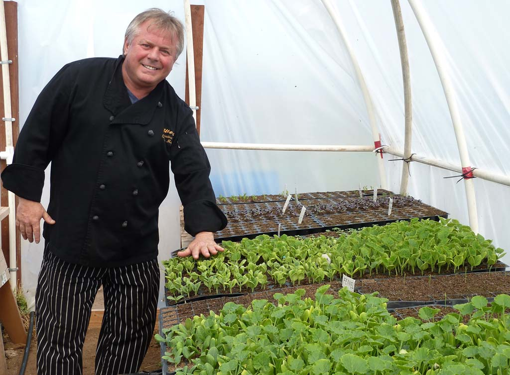 The West Restaurants in Carlsbad craft their menus around nature in a 3-acre farm supervised by Executive Chef Eugenio Martignago shown in the greenhouse where seedlings are nurtured. Photos by Frank Mangio