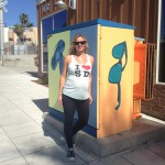 "Artist Bre Custodio is one of three local artists chosen to paint electrical boxes, as part of Phase One for Encinitas 101 MainStreet's Utility of Art Project. She painted ""Time to Relax."""
