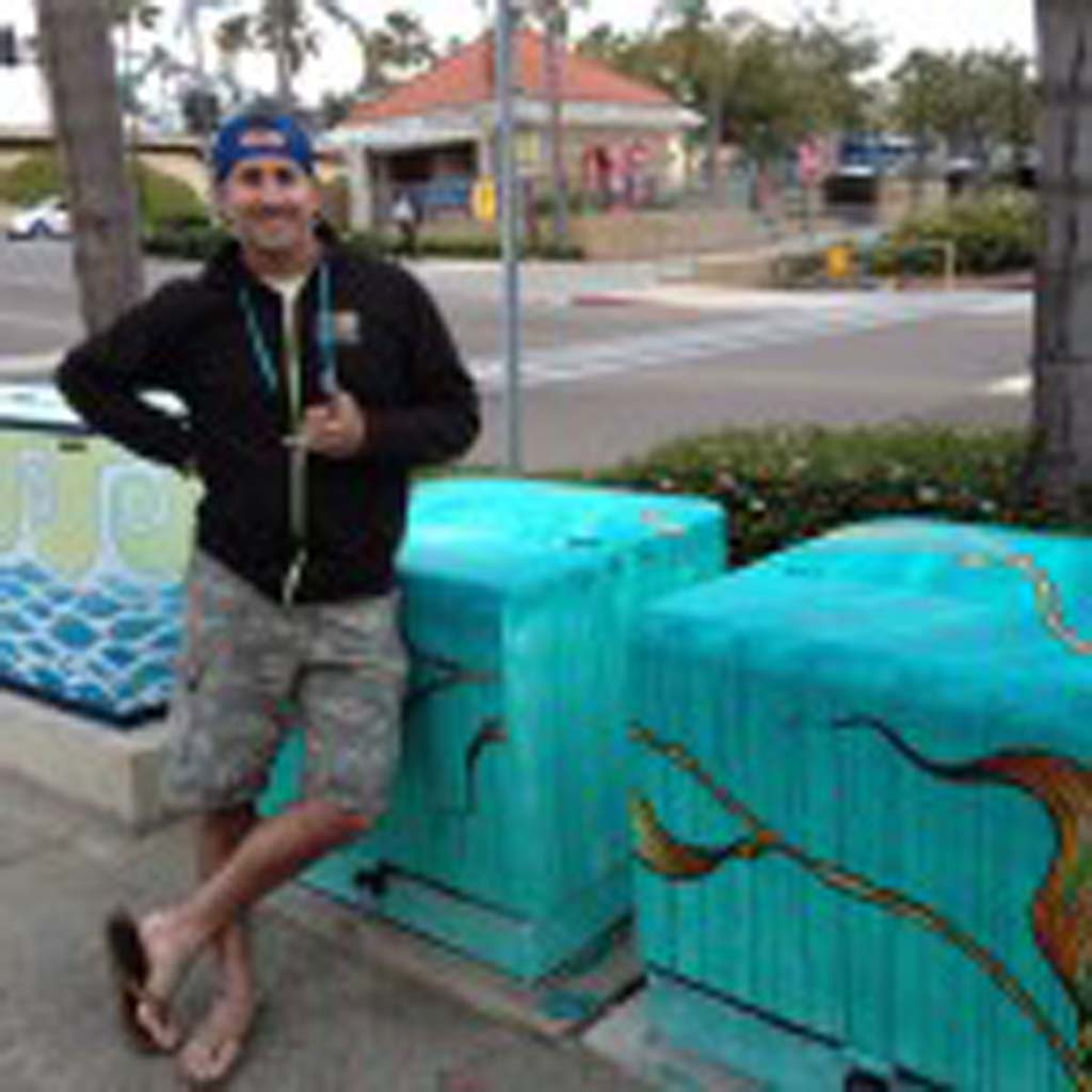 "Bryan Helfand is one of three local artists chosen to paint electrical boxes, as part of Phase One for Encinitas 101 MainStreet's Utility of Art Project. He painted ""Transformation"" on three boxes."
