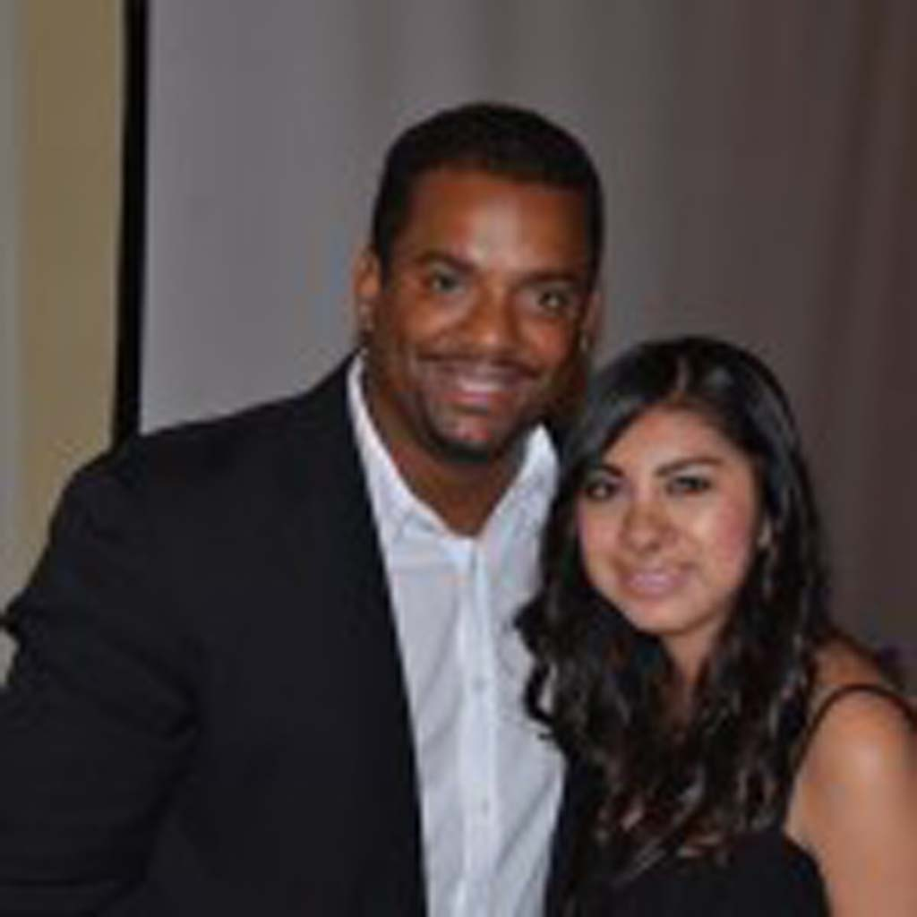 Angela Cruz-Salgado, right, with actor Alfonso Ribeiro at the two-day Fresh Start Celebrity Golf Tournament in March benefitting Fresh Start.