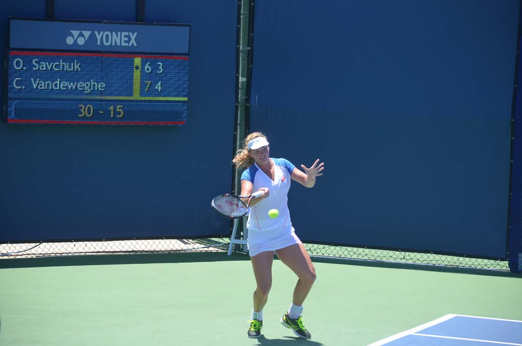 Former Rancho Santa Fe resident CoCo Vandeweghe wins her final qualifying match on Monday against Ukrainian Olga Savchuk. The win puts Vandeweghe in the main draw of the Southern California Open at the Omni La Costa Resort and Spa. Photo by Tony Cagala