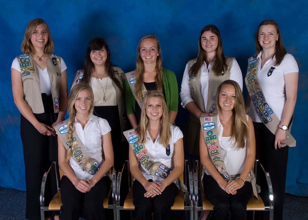 North County Girl Scouts were honored at San Diego's recent Gold Award ceremony, from left, back row, Manon Wogahn, Emily Ross, Caroline Bowman, Taylor Walsh, Jennifer Case with, from left, front, Julie Steigerwald, Victoria Correll, Bridget Beliveau. Not pictured: Nicholette Christenson, Katherine Coats. Courtesy photo