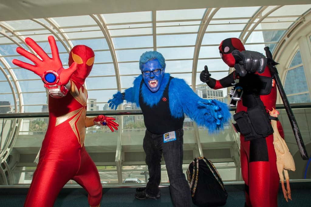 Rancho Cucamonga residents Kevin Justiniano, Brett Usher, and West Covina resident John Justiniano dress as their favorite comic book characters at Comic-Con. Photo by Daniel Knighton