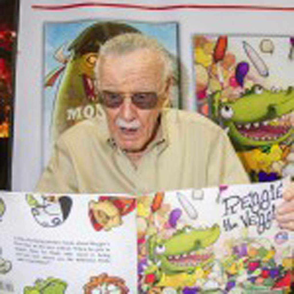 "Marvel Comics legend Stan Lee (""Spiderman,"" ""X-Men"") mugs for The Coast News while promoting his line of kids comics ""Stan Lee's Kids Universe"" at Comic-Con on Saturday. Photo by Daniel Knighton"