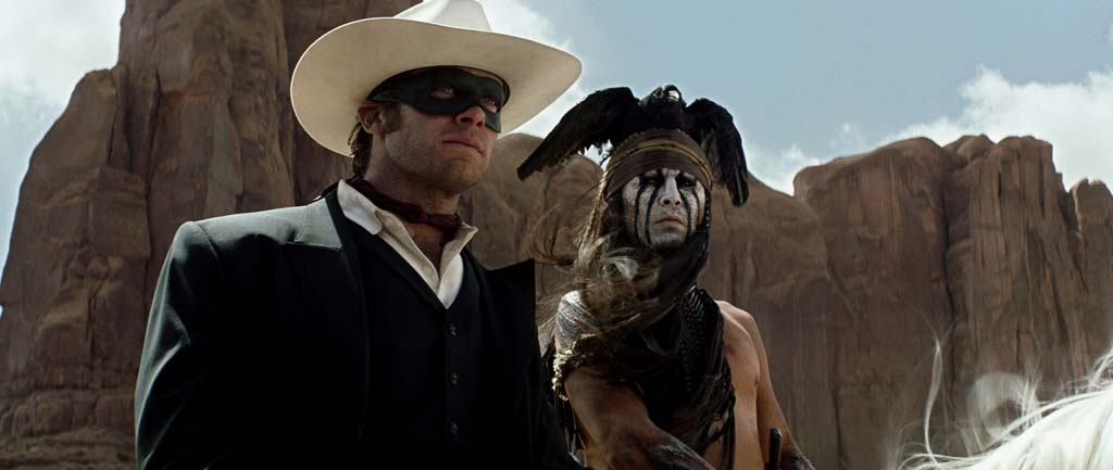 "Armie Hammer, left, as The Lone Ranger and Johnny Depp as Tonto in ""The Lone Ranger,"" now in theaters. Photo by Peter Mountain"