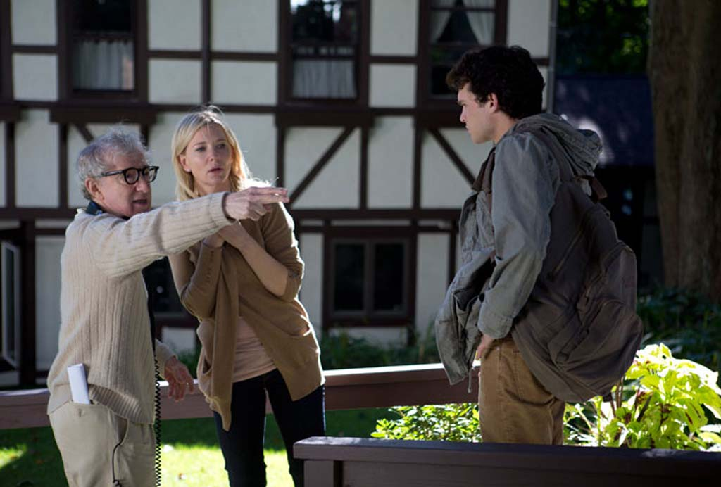 "Woody Allen, left, directs Cate Blanchett and Alden Ehrenreich in ""Blue Jasmine."" Photo courtesy of Sony Pictures Classics"